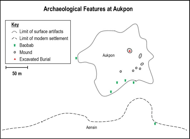 Map of Archaeological Features at Aukpon