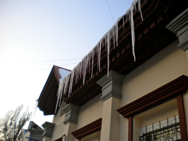 Icicles in downtown Almaty